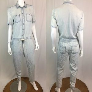 Lou & Grey Pants - Lou & Grey Linen Tencel Chambray Tapered Jumpsuit